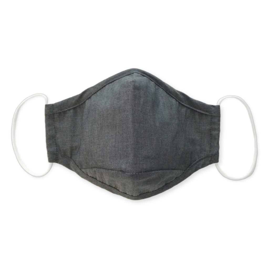 3-Layer Woven Cotton Chambray Face Mask, Charcoal Gray
