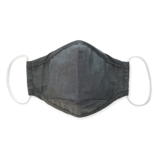 3-Layer Cotton Chambray Face Mask, Charcoal Gray