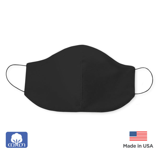 2-Layer Cotton Flannel Face Mask, Black, Made in USA
