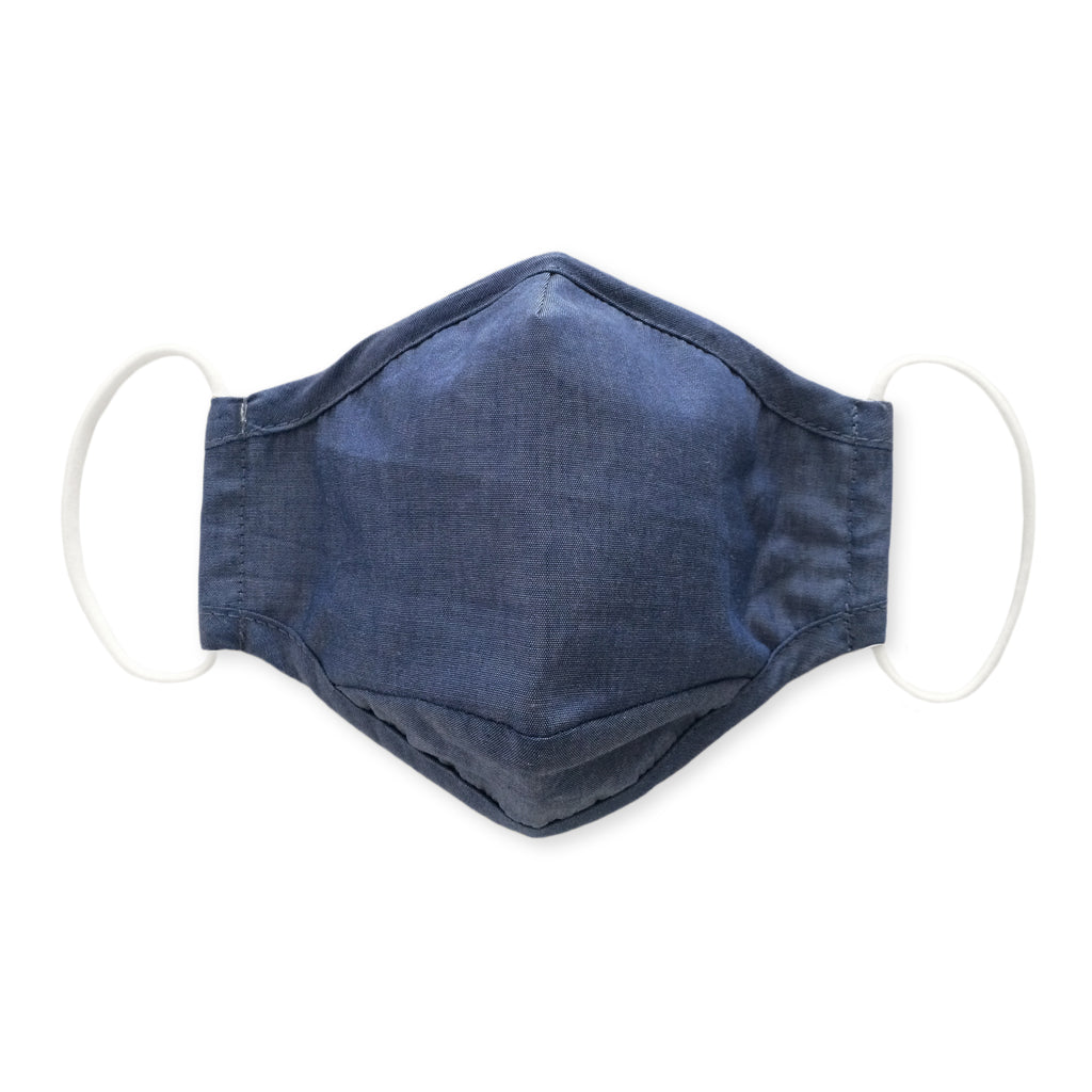 Adult Cloth Face Mask, 3-Layer Cotton Chambray, Denim, 10 Pack