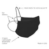 2-Layer Cotton Fabric Facemask, Cloth Non-Medical Mask - Black