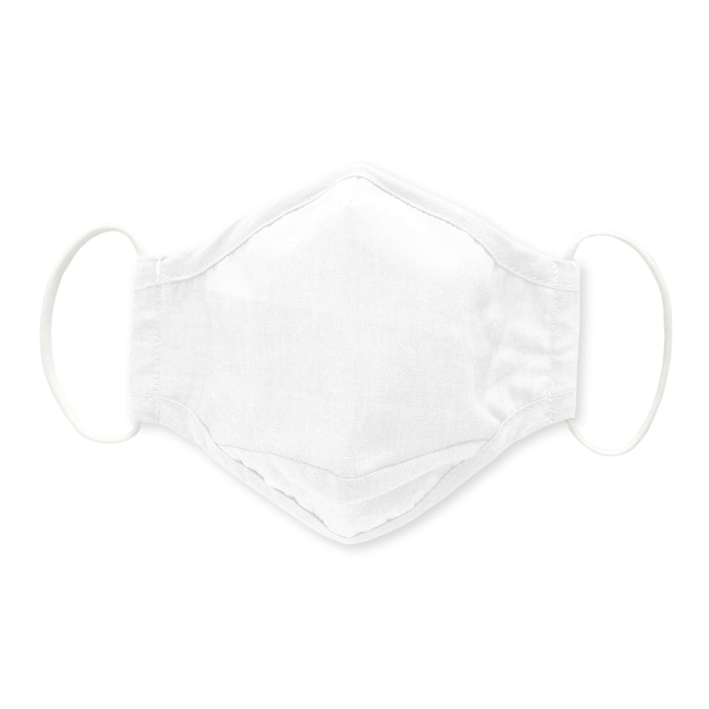3-Layer Cotton Chambray Face Mask, White