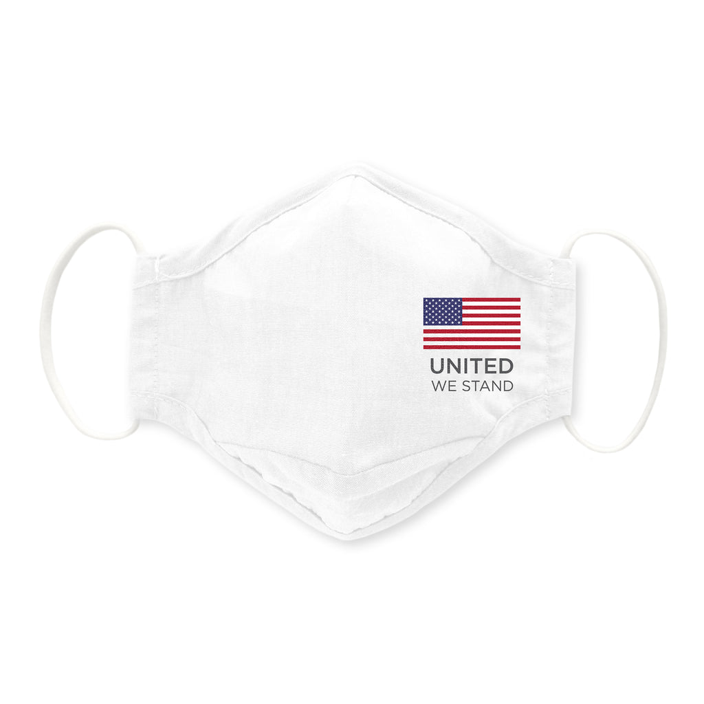 3-Layer Cotton Chambray Face Mask, White - United We Stand