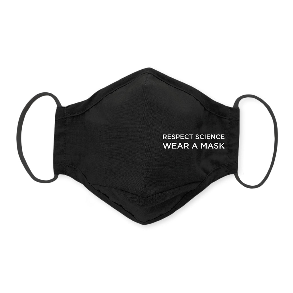 3-Layer Woven Cotton Chambray Face Mask, Black - Respect Science