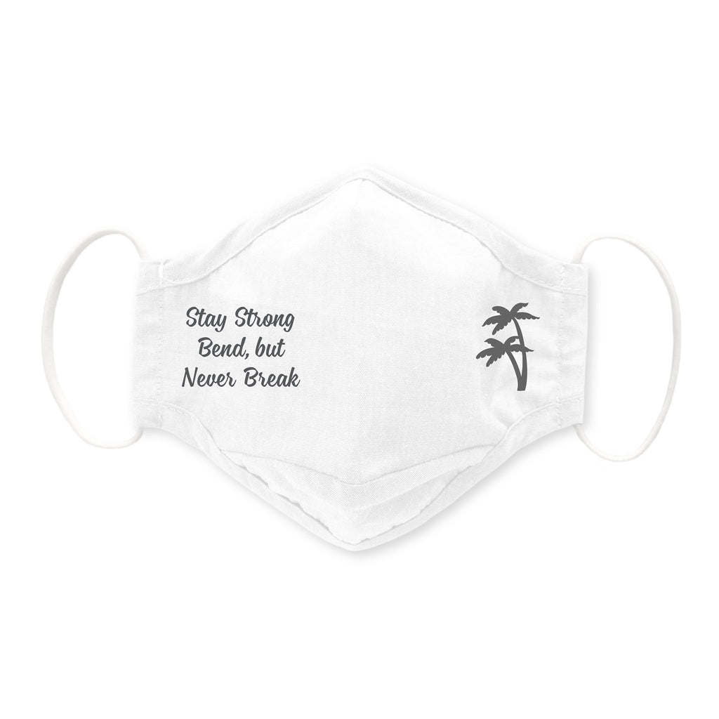 3-Layer Woven Cotton Chambray Face Mask, Palm Tree, White