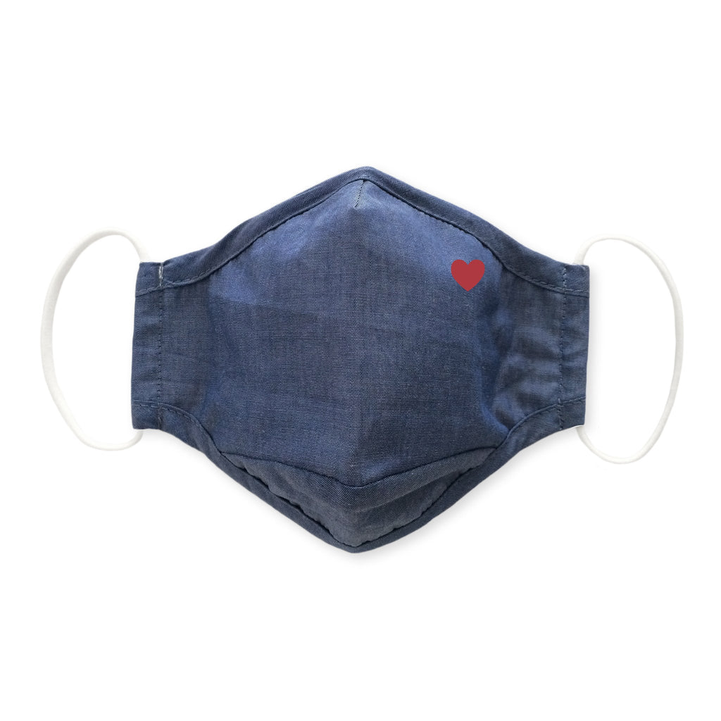 3-Layer Woven Cotton Chambray Face Mask, Heart, Denim