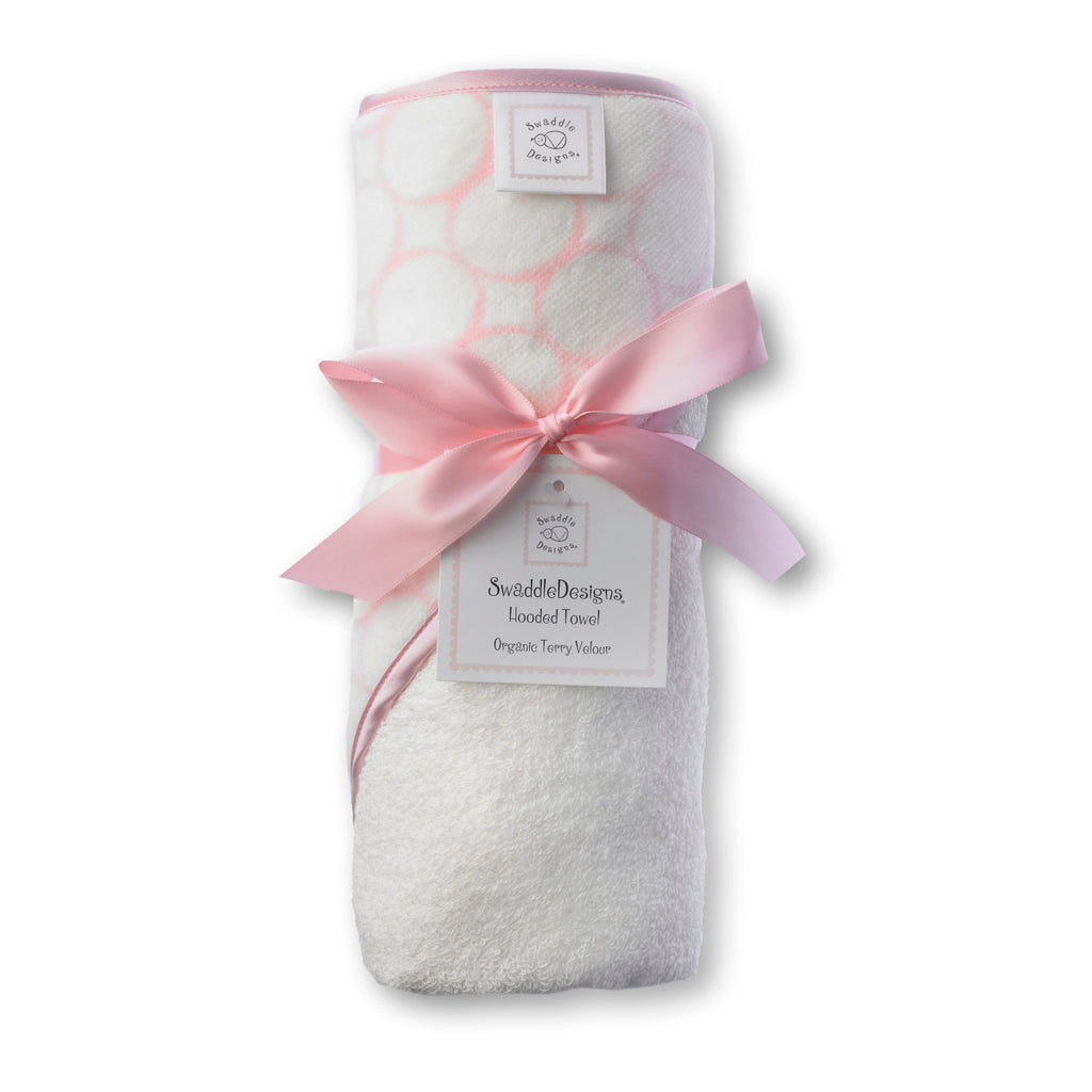 Organic Hooded Towel - Mod Circles on Ivory, Pastel Pink