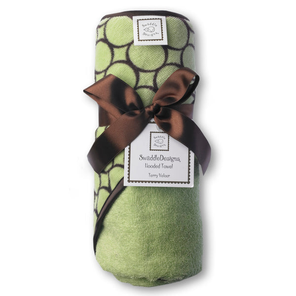 Terry Velour Hooded Towel - Brown Mod Circles, Lime
