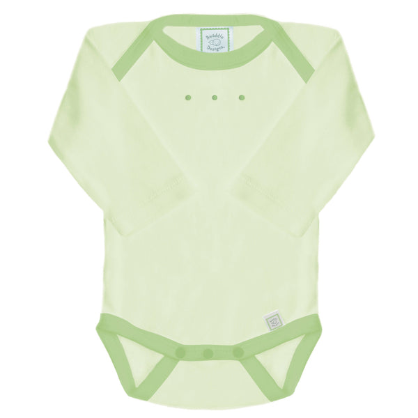 Long Sleeve Bodysuit - Kiwi with Light Pure Green Trim