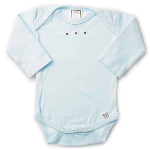 Long Sleeve Bodysuit - Pastel with Mocha Dots, Pastel Blue