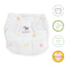 SmartNappy Cotton Muslin NextGen Hybrid Reusable Cloth Diaper Cover + 1 Reusable Insert + 1 Reusable Booster - Multi Mini Watercolor Dots, Pink