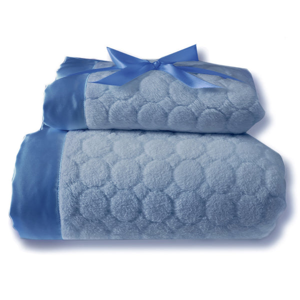 Mommy and Me Blanket - Puff Circle, Blue