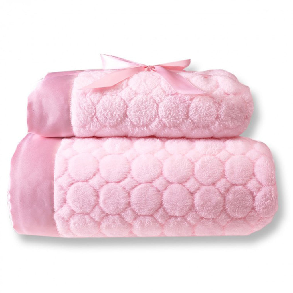Mommy and Me Blanket - Puff Circle, Pink