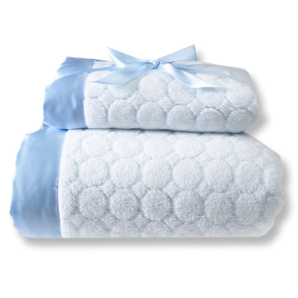 Mommy and Me Blanket - Puff Circle, Pastel Blue
