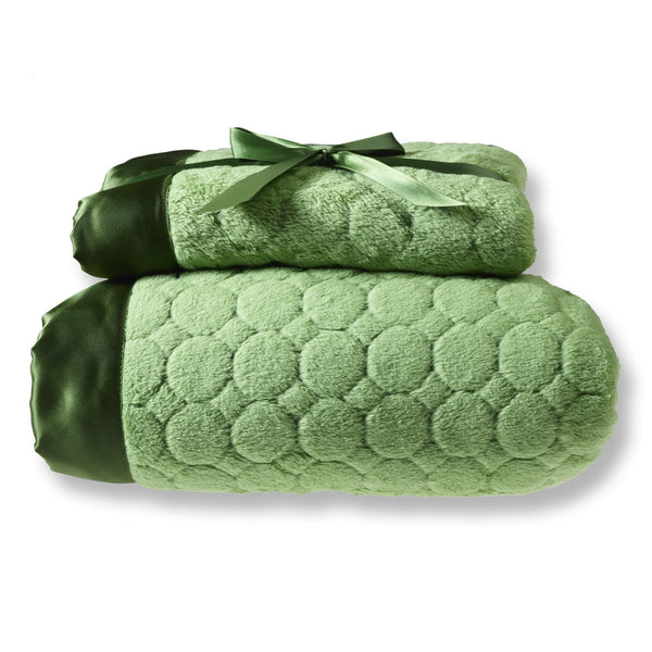 Mommy and Me Blanket - Puff Circle, Pure Green