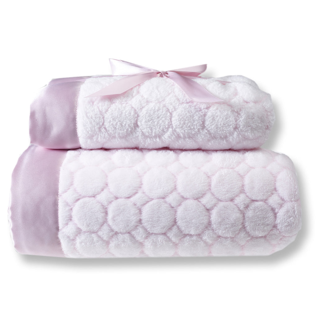 Mommy and Me Blanket - Puff Circle, Pastel Pink