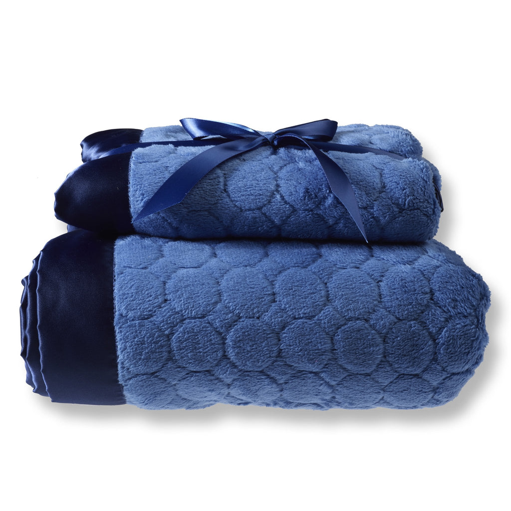 Mommy and Me Blanket - Puff Circle, True Blue