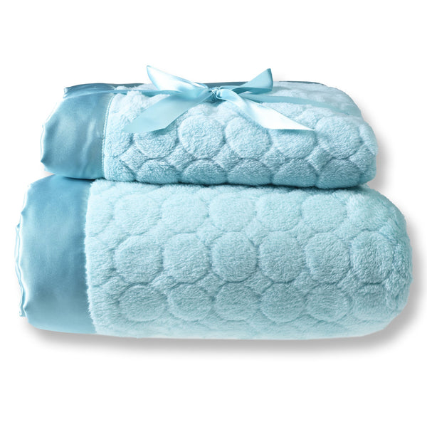 Mommy and Me Blanket - Puff Circle, Turquoise