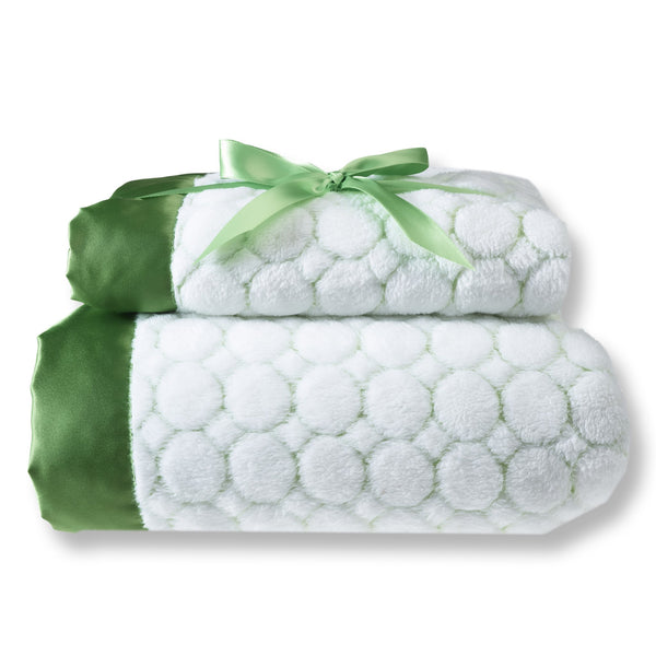Mommy and Me Blanket - Ivory Puff, Pure Green