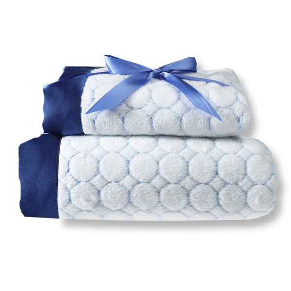 Mommy and Me Blanket - Ivory Puff, True Blue