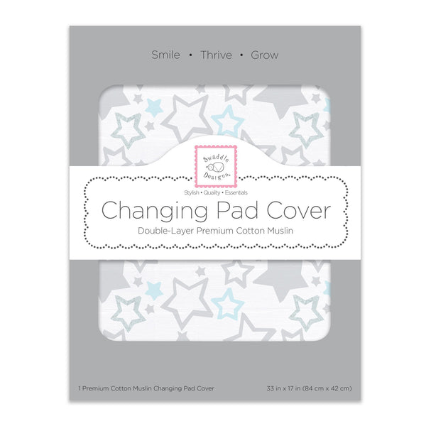 Muslin Changing Pad Cover - Sterling Starshine Shimmer