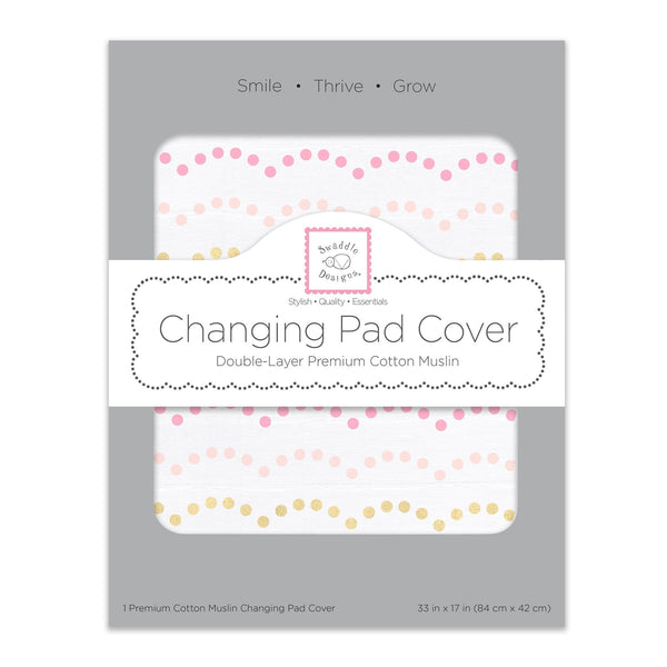 Muslin Changing Pad Cover Tiny Dotted Scallop with Shimmer