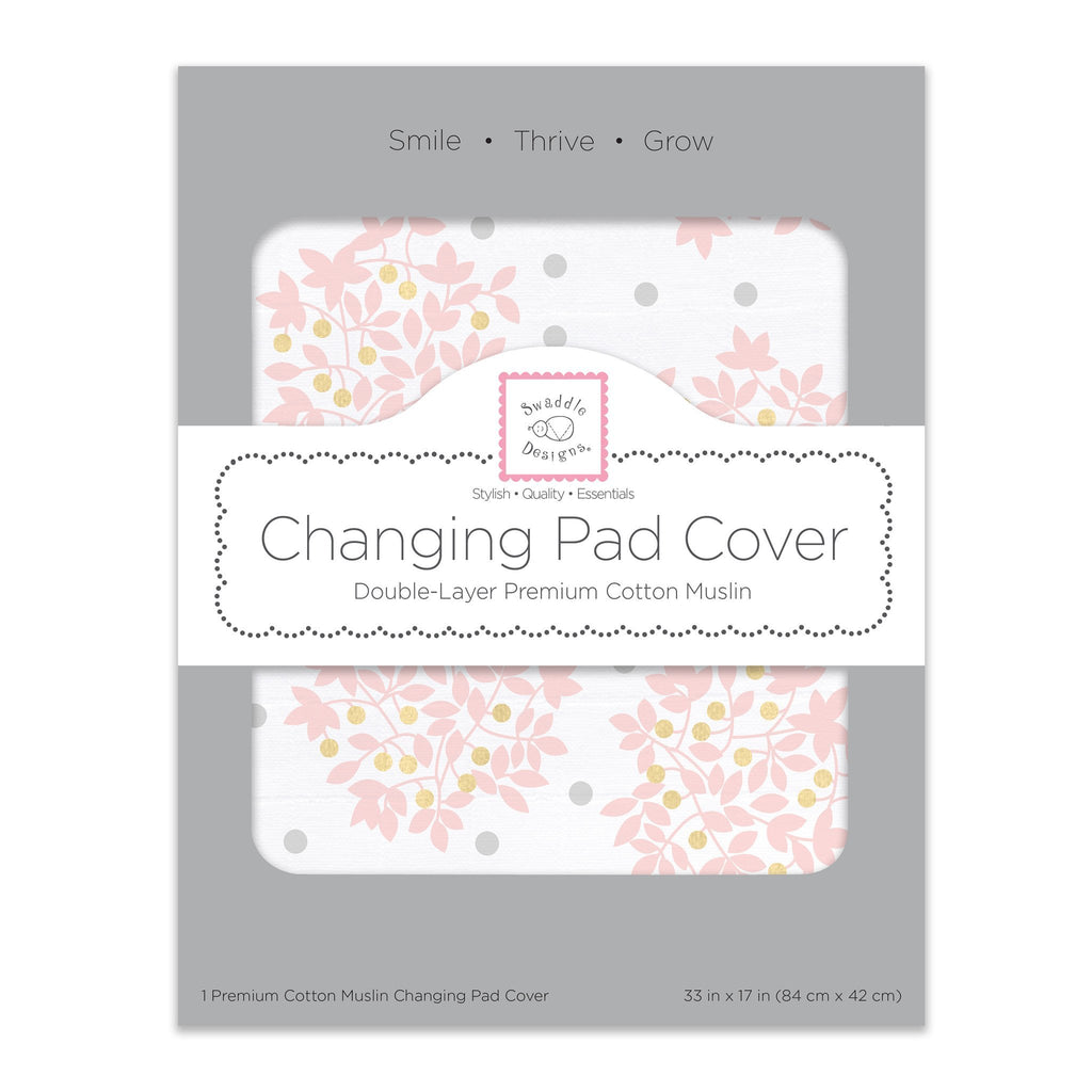 Muslin Changing Pad Cover - Heavenly Floral with Shimmer