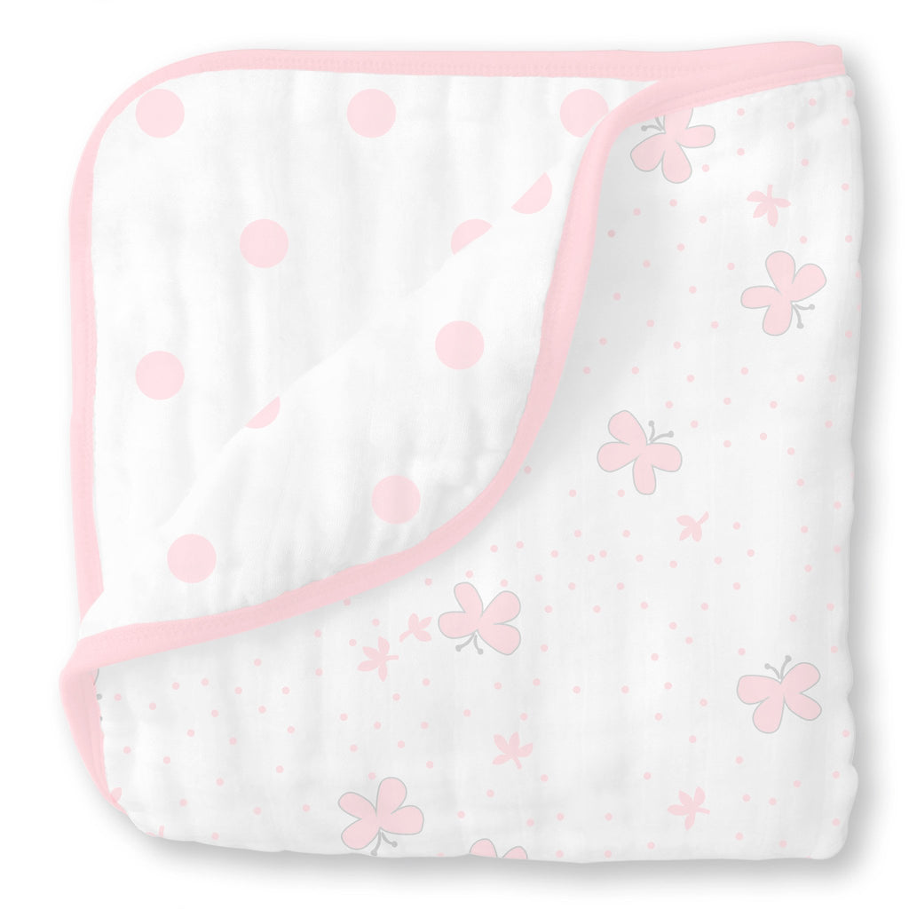 Set of 3 SwaddleDesigns Large Cotton Muslin Squares Pastel Pink Butterfly Fun