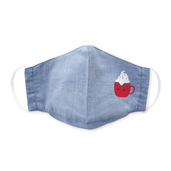 Kids Face Mask, 3-Layer Cotton Chambray, Light Denim, Cuppa Hot Cocoa