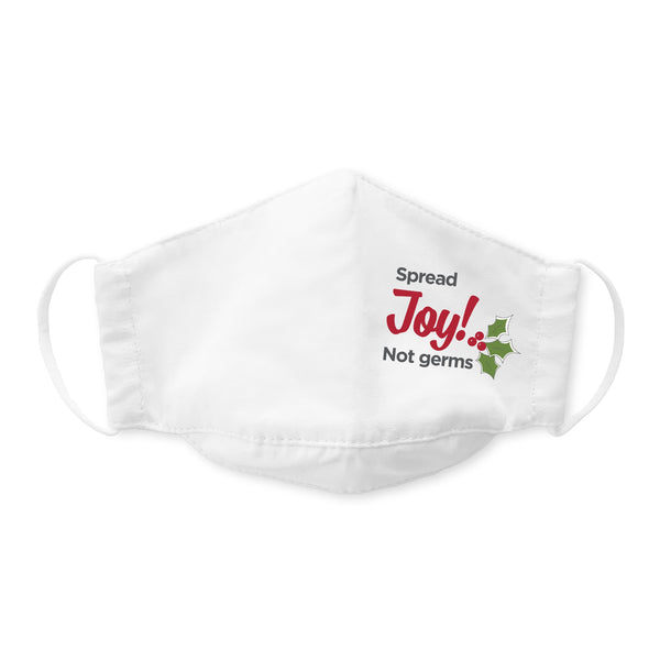 Kids Face Mask, 3-Layer Cotton Chambray, White, Spread Joy Not Germs