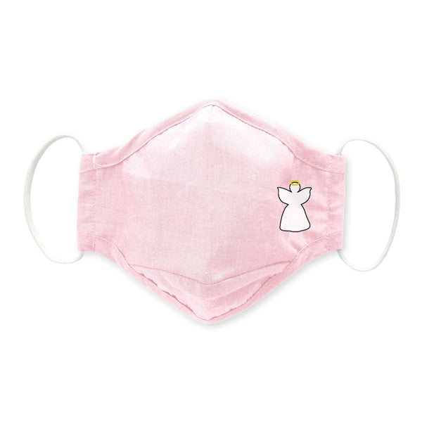 Adult 3-Layer Cotton Chambray Face Mask, Pink, Angel
