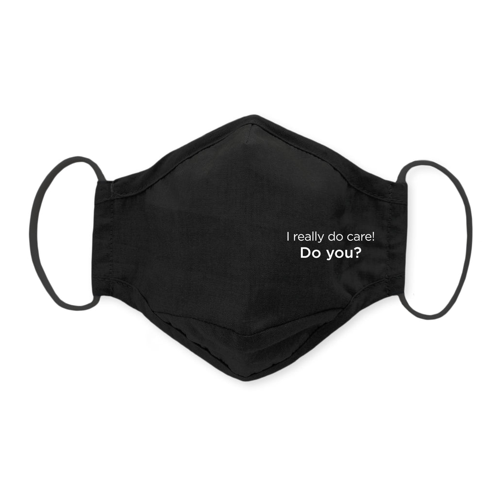3-Layer Cotton Chambray Face Mask, I Really Do Care, Black