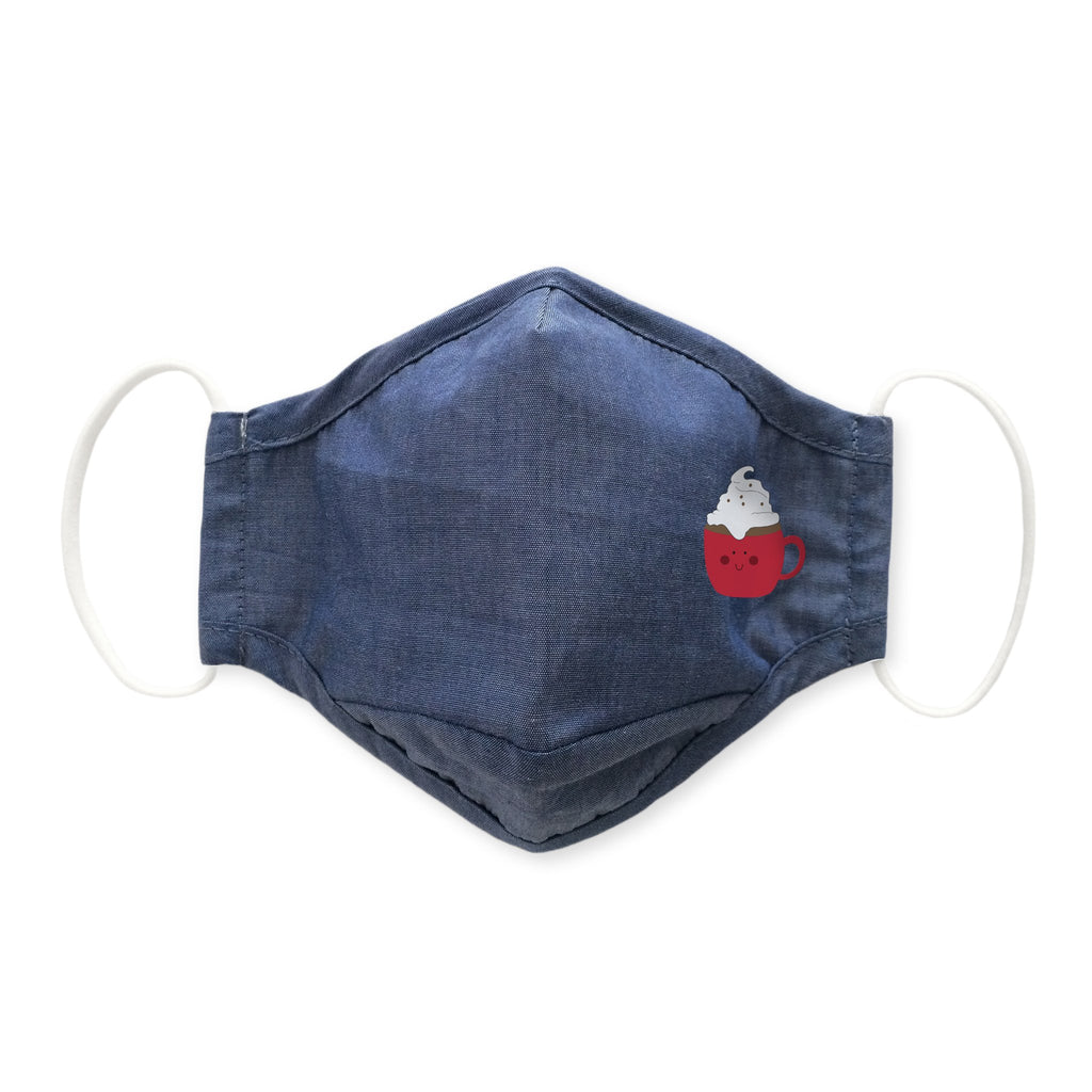 Adult 3-Layer Woven Cotton Chambray Face Mask, Denim - Cuppa Hot Cocoa