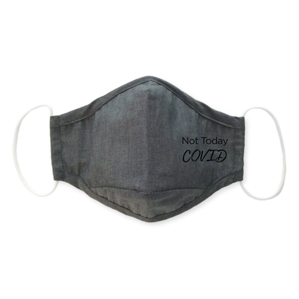 3-Layer Cotton Chambray Face Mask, Charcoal Gray, Not Today
