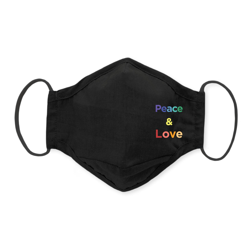 3-Layer Cotton Chambray Face Mask, Black - Peace & Love