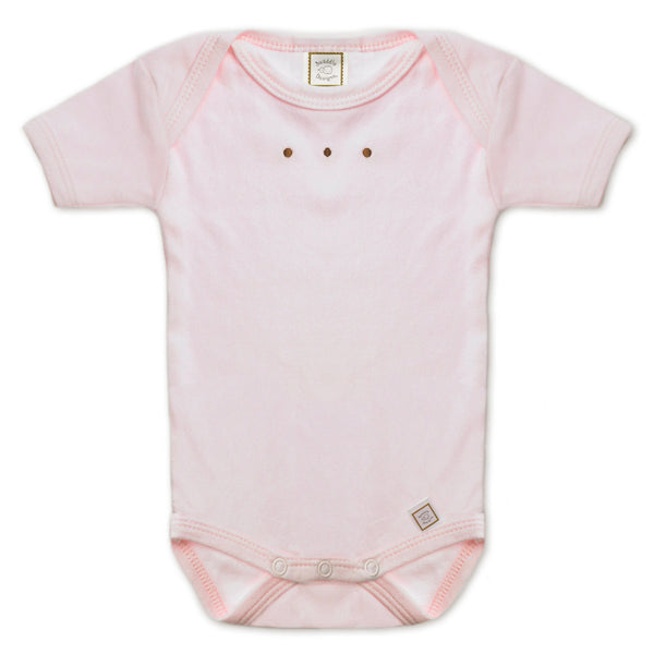 Short Sleeve Bodysuit - Pastel with Mocha Dots, Pastel Pink