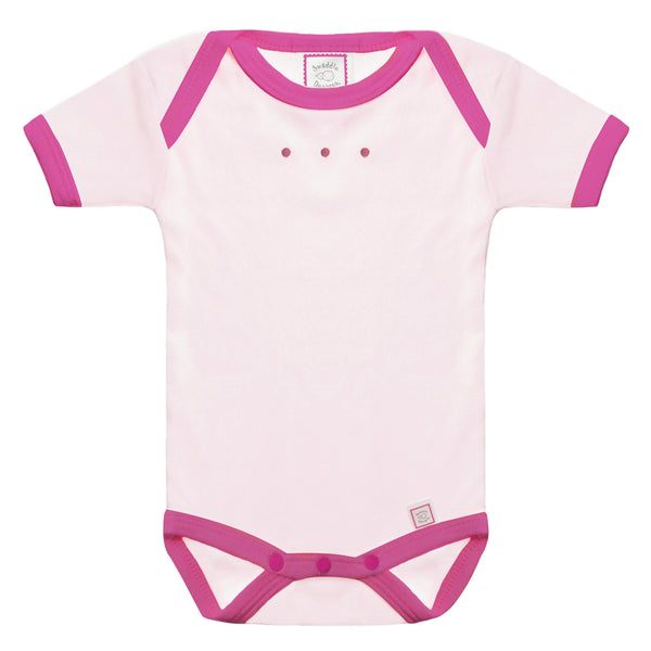Short Sleeve Bodysuit - Pastel Pink with Very Berry Trim, Very Berry