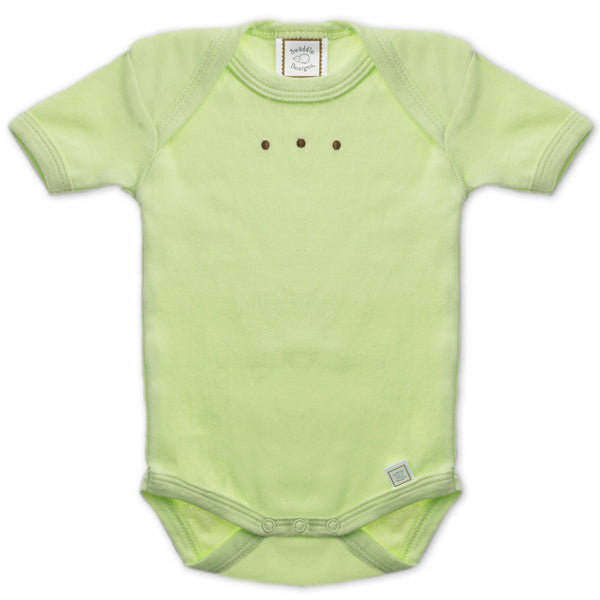 Short Sleeve Bodysuit - Pastel with Mocha Dots, Kiwi