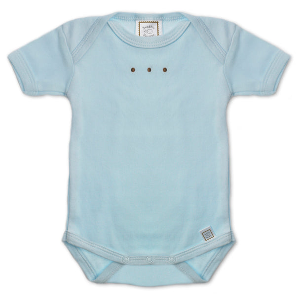 Short Sleeve Bodysuit - Pastel with Mocha Dots, Pastel Blue