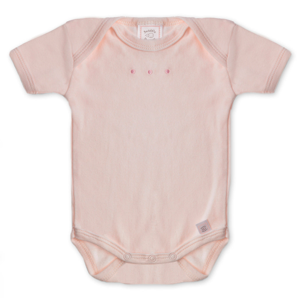 Short Sleeve Bodysuit - Pastel Pink with Pastel Dots, Pastel Pink