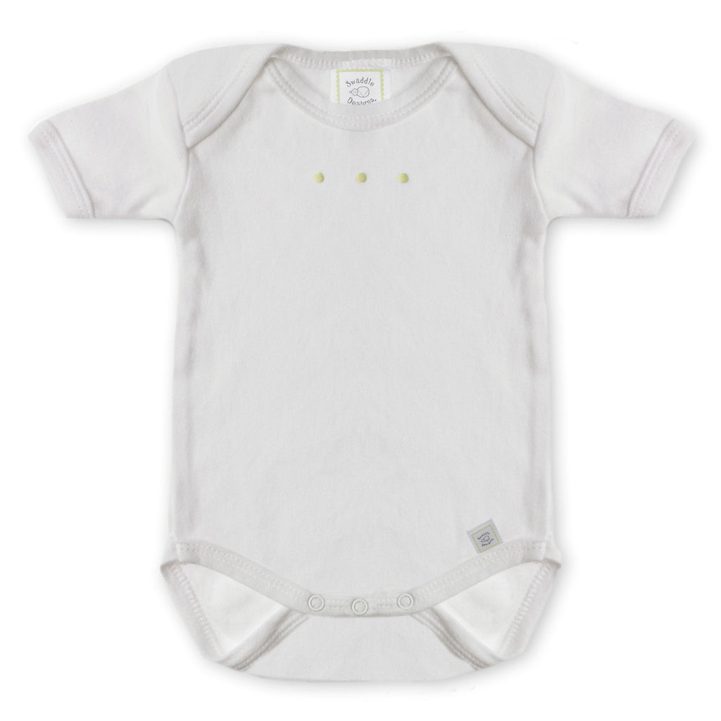 Short Sleeve Bodysuit - White with Pastel Dots, Pastel Yellow