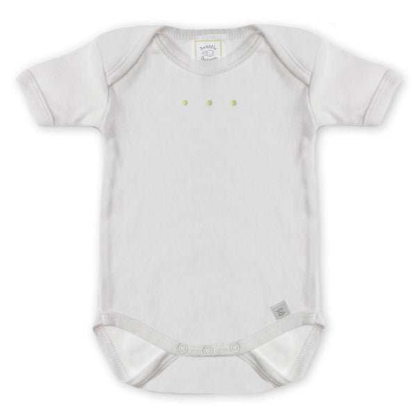 Short Sleeve Bodysuit - White with Pastel Dots, Kiwi
