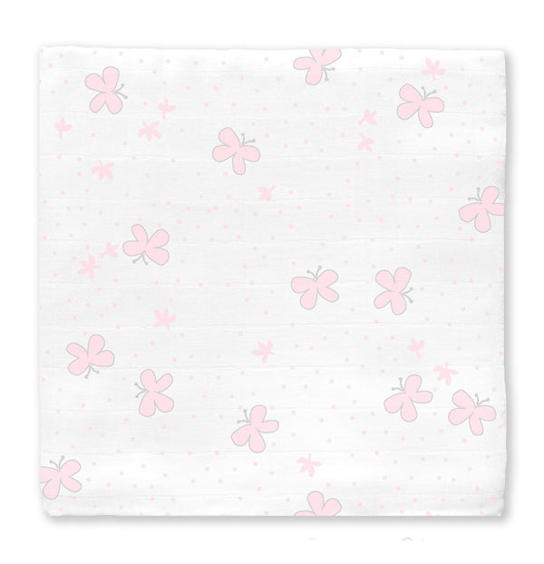 Muslin Swaddle Single - Butterflies-Pink