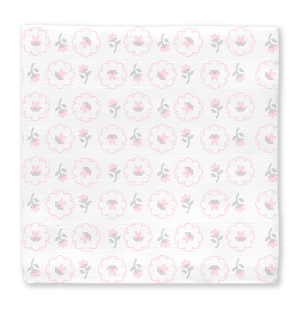 Muslin Swaddle Single - Posies-Pink