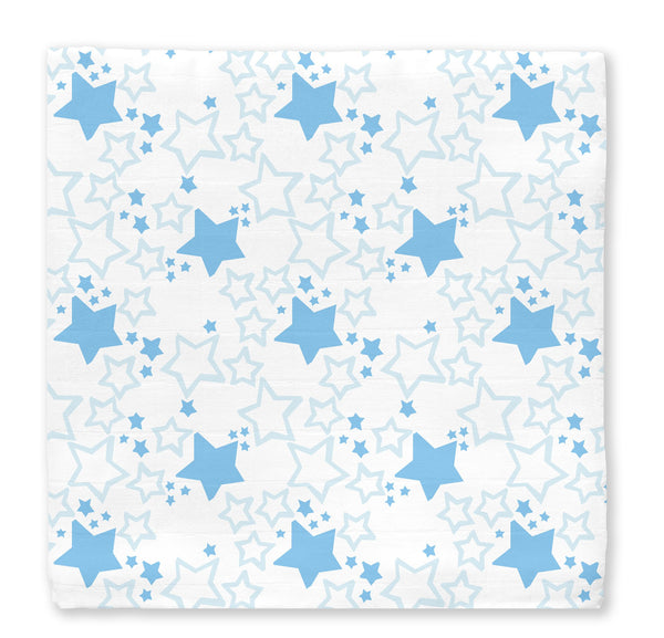 Muslin Swaddle Single - Starshine-Blue