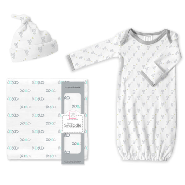 Muslin Swaddle, Gown and Hat Gift Set - Fox, XOXO, Sterling, Newborn