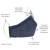Muslin Swaddle and 3-Layer Cotton Chambray Face Mask Set - Indigo
