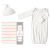 Muslin Swaddle, Gown and Hat Gift Set - Tiny Triangles, Pink, Newborn