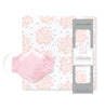 Muslin Swaddle and 3-Layer Cotton Chambray Face Mask Set - Heavenly Floral Pink