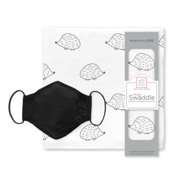 Muslin Swaddle and 3-Layer Cotton Chambray Face Mask Set - Hedgehog Black